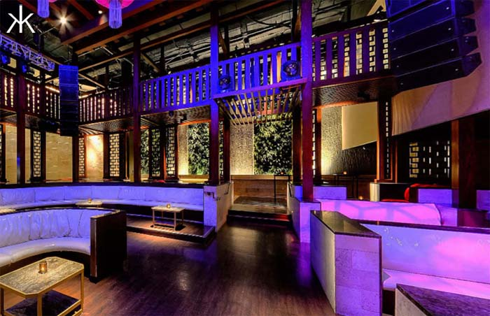 A photo of tables in the Pavilion at Hakkasan