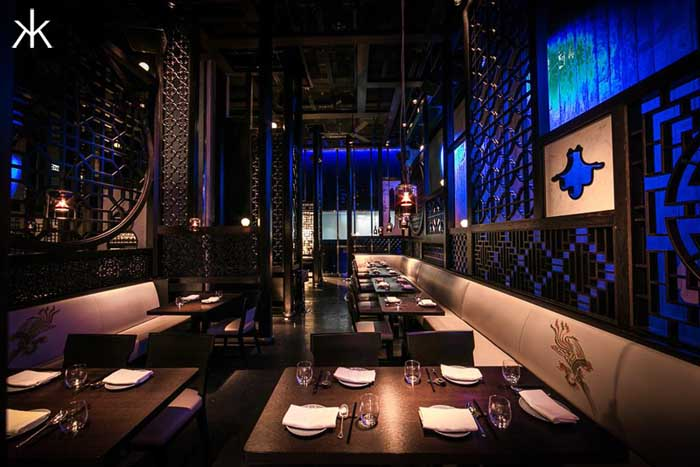 Dining tables inside Hakkasan restaurant in the MGM Grand Las Vegas