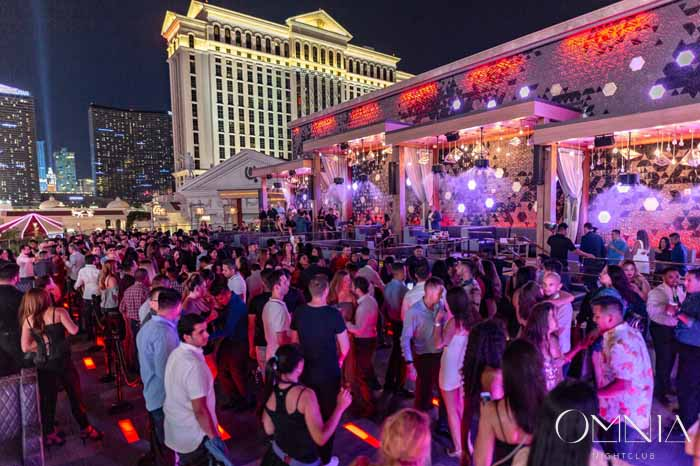 The Outside Rooftop Deck at Omnia Nightclub Las Vegas