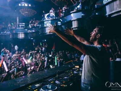 Calvin in the DJ booth at Omnia