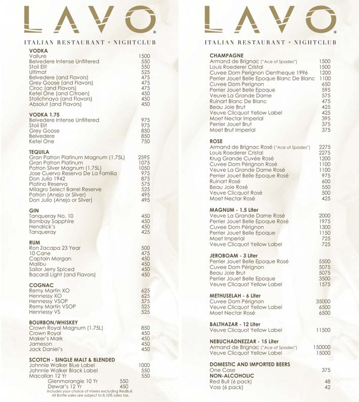 Drink and Bottle Options At Lavo Party Brunch