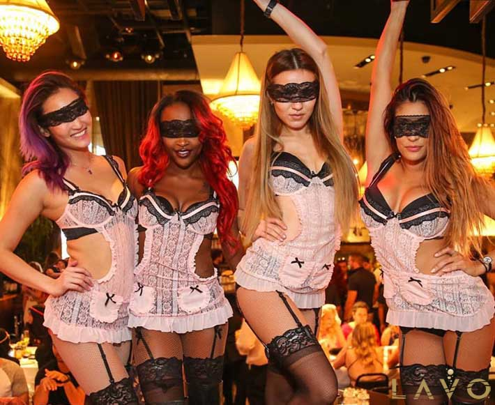 Cocktail Servers Dressed In Lingerie