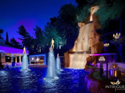 Intrigue's waterfall and outdoor patio area