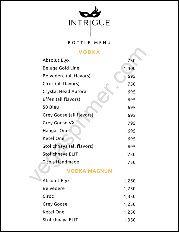 Vodka and Vodka Magnum Bottle Options at Intrigue Nightclub Las Vegas