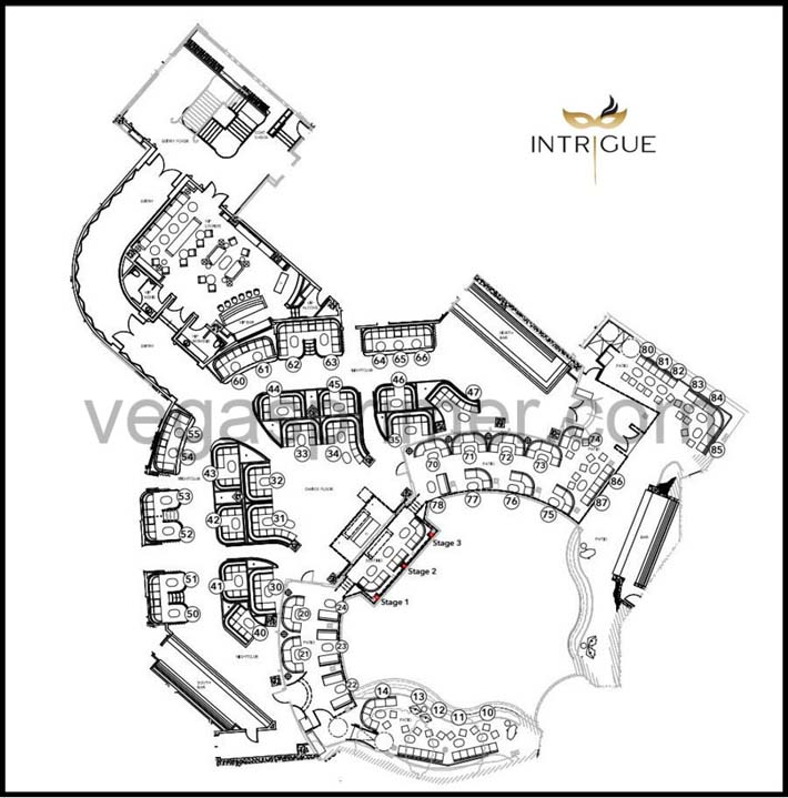 A map showing the table numbers and locations of the bottle service tables at Intrigue Nightclub.