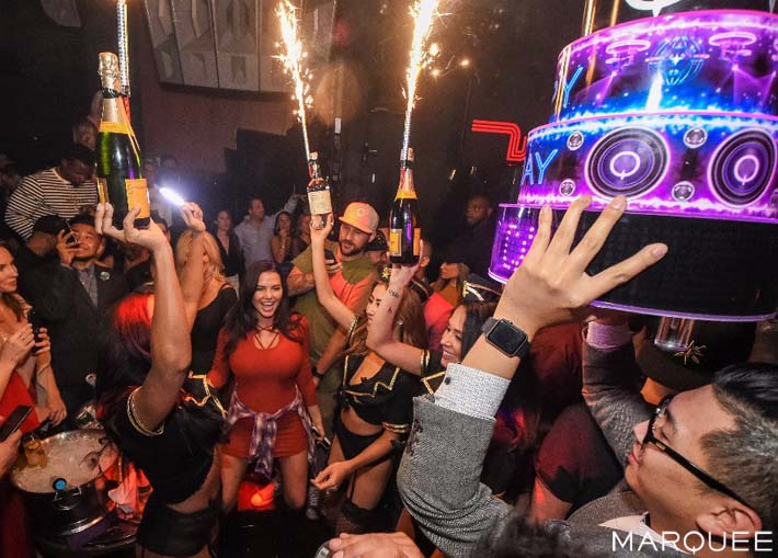 Sparklers and a birthday cake at Marquee Las Vegas