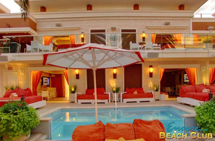 A photo of Encore Beach Club's bungalows featuring private pools and bathrooms