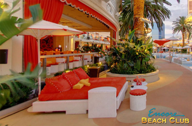 A Photo Of Daybeds For Bottle Service At Encore Beach Club