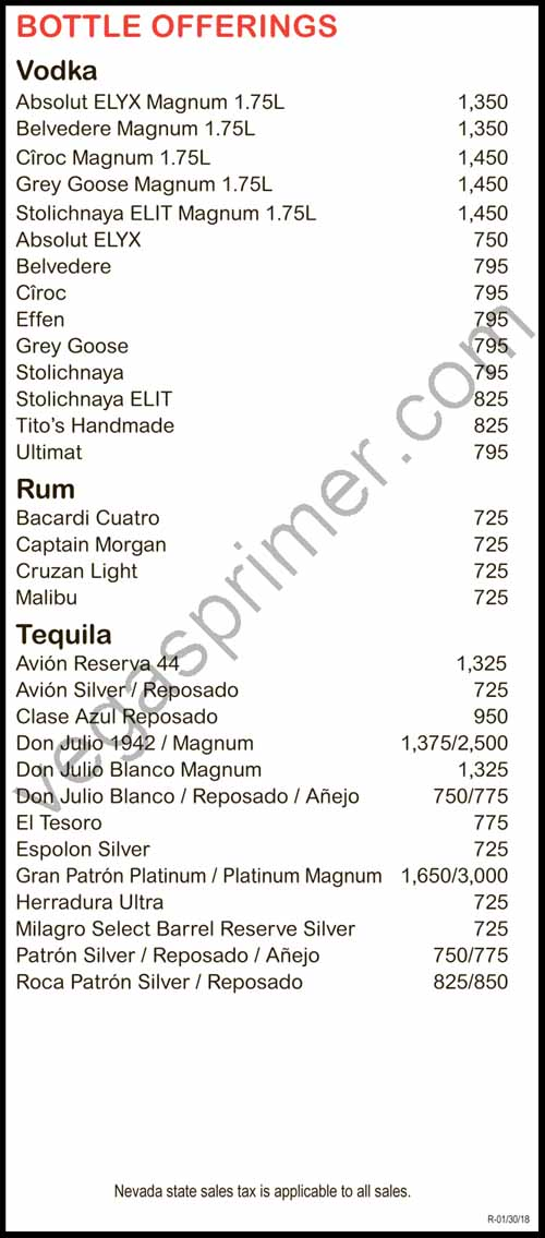 Vodka, Rum and Tequila Bottle Options At EBC