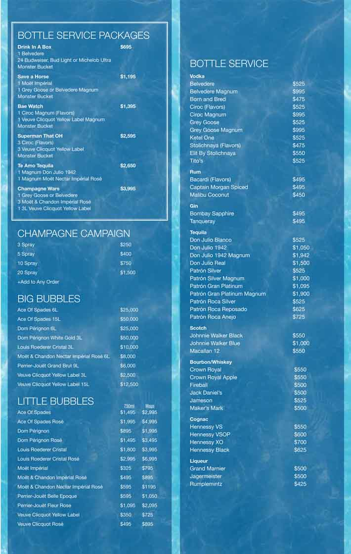 Rehab Beach Club Bottle Options