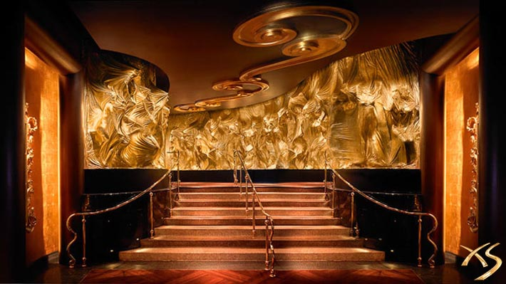 The walls, stairs and ceiling are covered in gold at XS Las Vegas