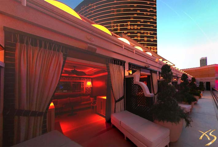 A photo of the upstairs cabanas at XS Las Vegas