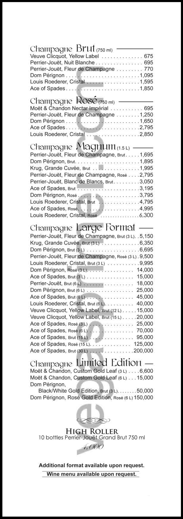 Champagne Options for XS Las Vegas