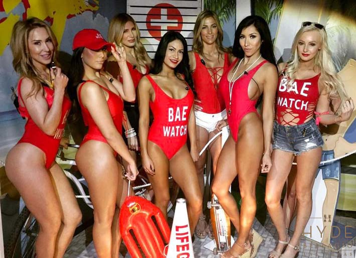 Cocktail servers in swimsuits at Hyde's Baewatch XIV Party