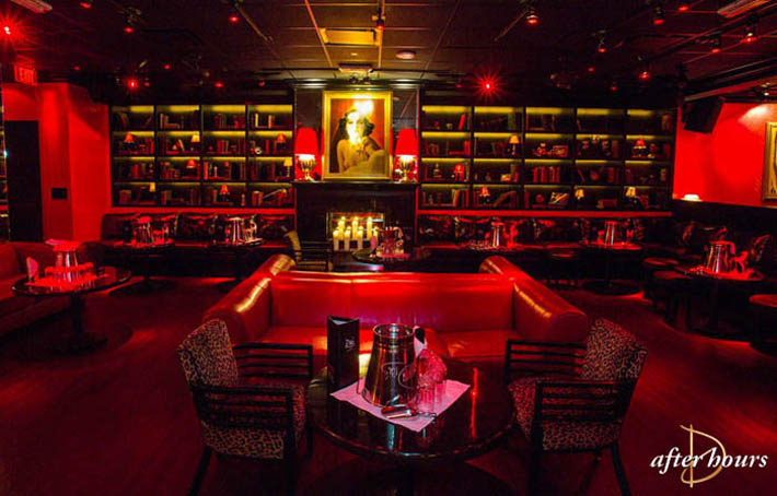 Bookcases, a fireplace, and bottle service booths at Drai's After Hours