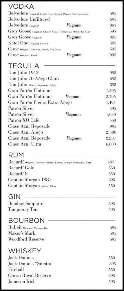 Vodka, Tequila, Rum, Gin, Bourbon, and Whiskey bottles and prices at Drai's Nightclub