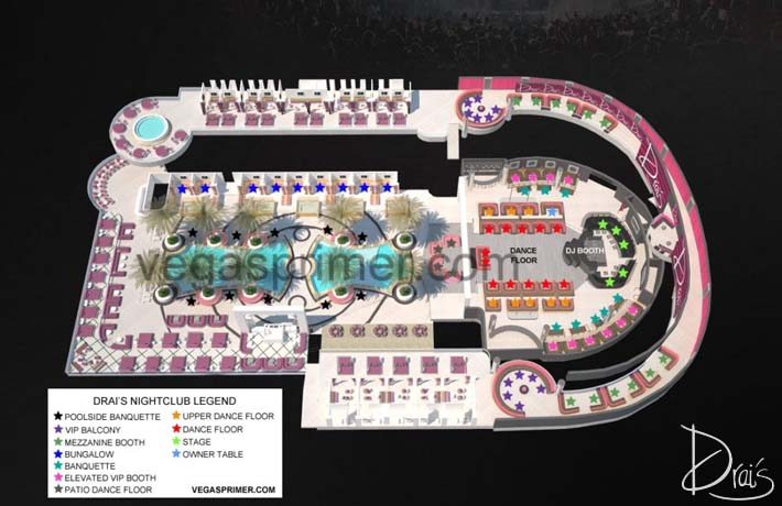 A map of Drai's Nightclub showing the club's layout including the bottle service table options.