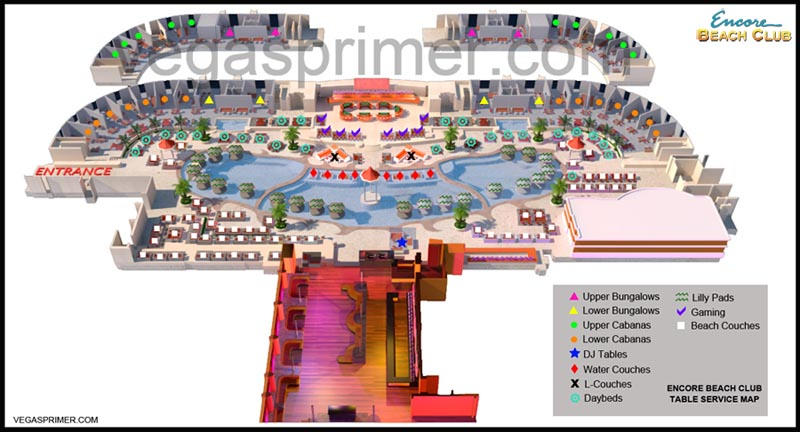 Map Of Bottle Service Tables Showing The Locations Bungalows Cabanas Dj