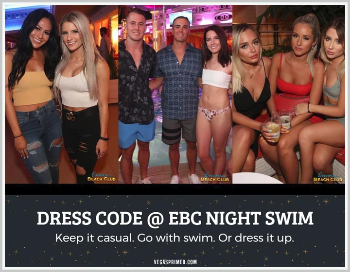 Photos of guests wearing jeans and a tank top, swimming suits and bikinis, dresses, and heels.