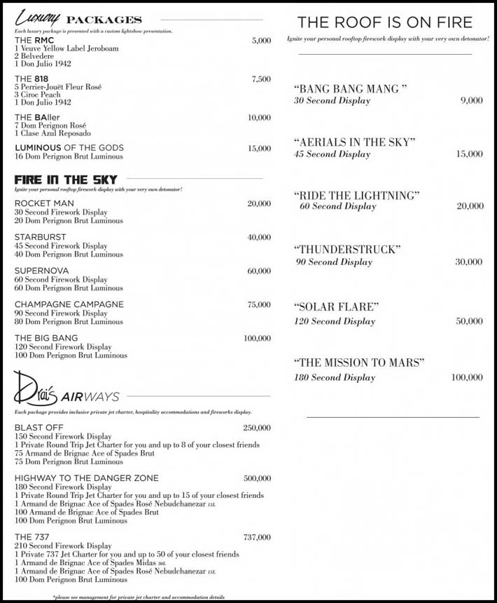 A listing of the fireworks packages and jet charters available at Drai's Nightclub.