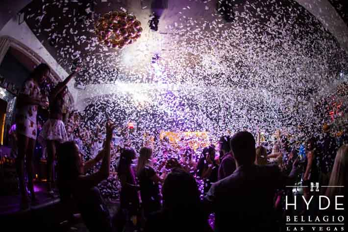 Confetti falls on the crowd at Hyde Bellagio