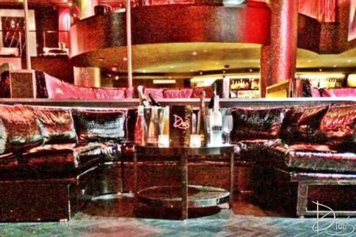 Large leather couches on the patio at Drai's Nightclub.