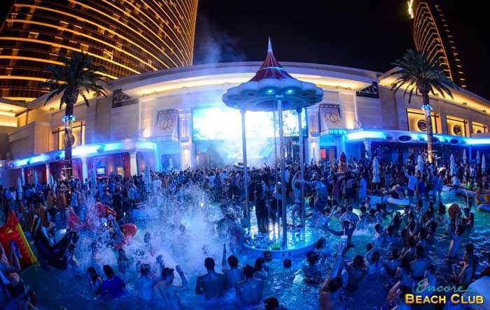 The Shower Rain Pavilion At Encore Beach Club Night Swim Provide A Platform For Las To