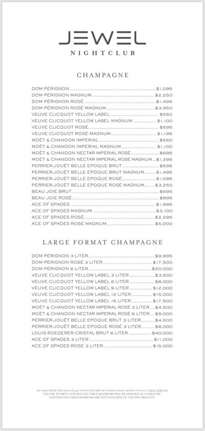Champagne and Large Format Champagne Bottles and Prices at Jewel Nightclub.