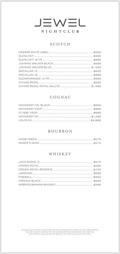 Scotch, Cognac, Bourbon, and Whiskey bottles and prices at Jewel Nightclub.