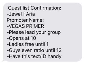 A screenshot of a text message showing the guest list check-in instructions.