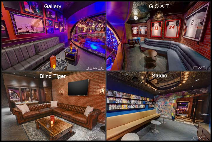 Four photos that show what the Gallery, Blind Tiger, Studio, and G.O.A.T. VIP Suites look like at Jewel Nightclub.