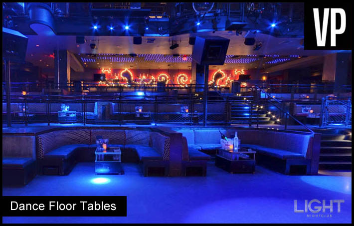 A photo of the dance floor tables at Light Nightclub.