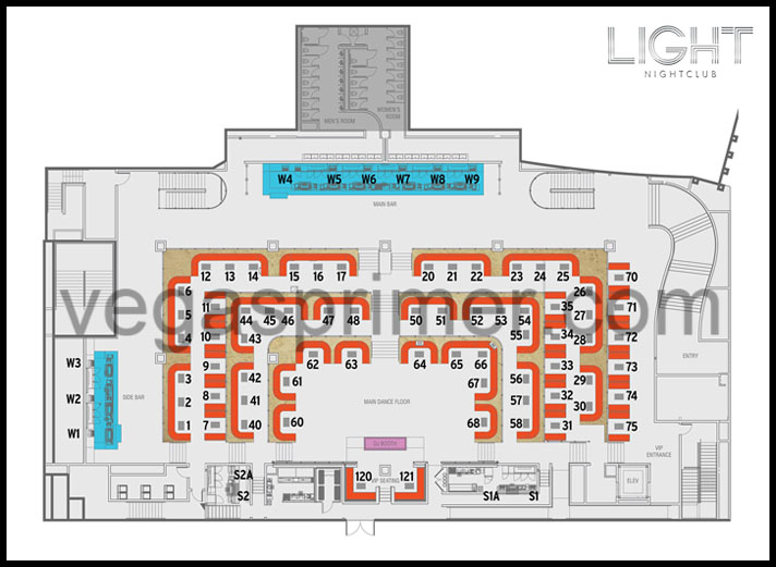 A map showing the table numbers at Light Nightclub Las Vegas