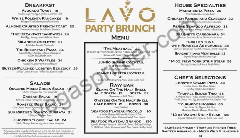 Breakfast and Brunch Offerings at Lavo Party Brunch