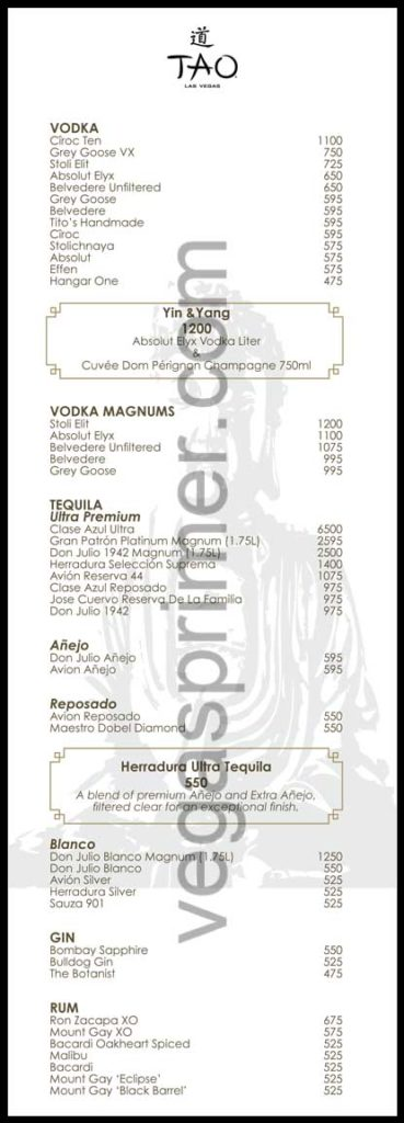 A list of Vodka and Tequila brands and prices at Tao Nightclub Las Vegas