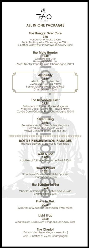 A menu of Tao Vegas's bottle service packages and presentation parades