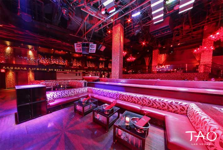 Large dance floor bottle service tables at Tao Las Vegas