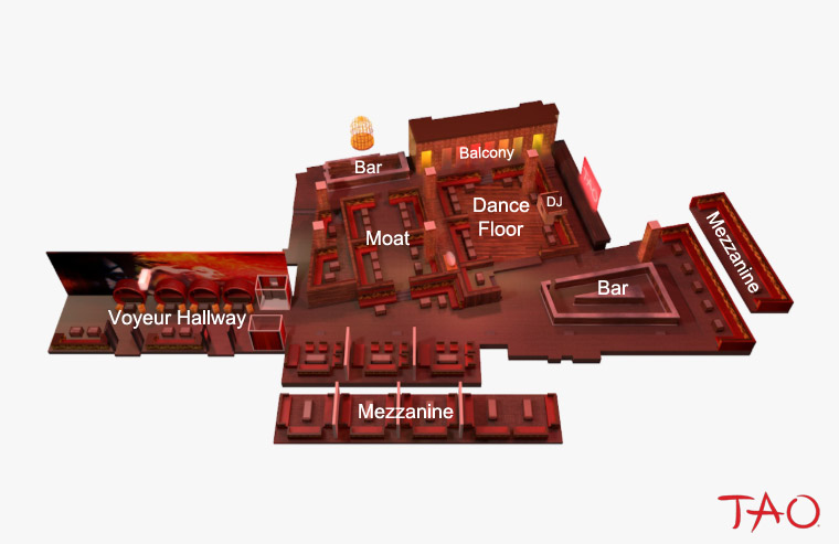 Tao Las Vegas's bottle service table map