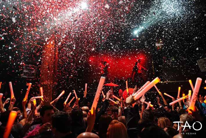 Confetti falls on the crowd inside Tao Las Vegas.