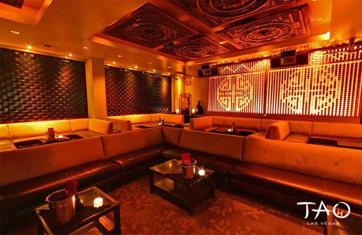 A photo of bottle service booths inside Tao Nightclub's Opium Room