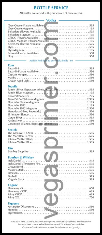 Wet Republic Bottle Menu and Prices