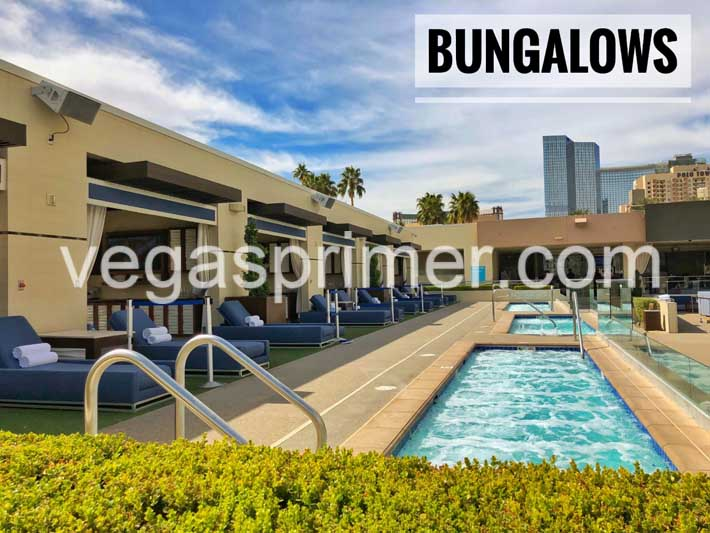 A photo showing Wet Republic's bungalows with a private dipping pool and large daybed