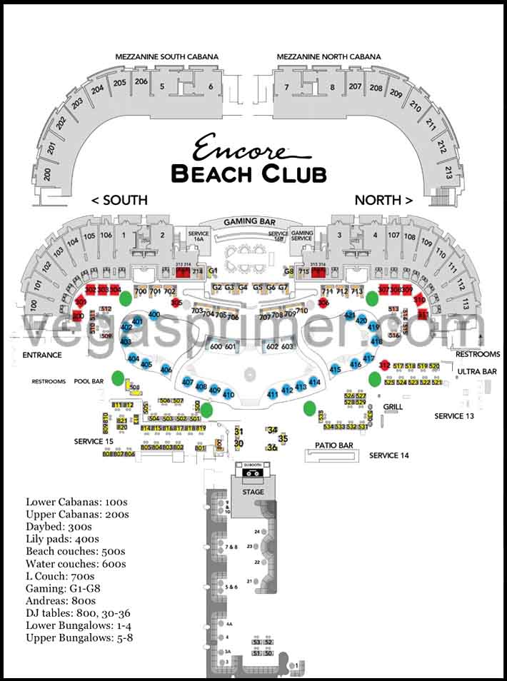 Table floor plan at Encore Beach Club Las Vegas